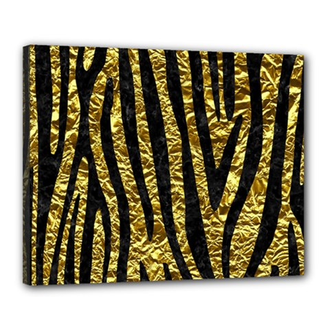 Skin4 Black Marble & Gold Foil Canvas 20  X 16  by trendistuff