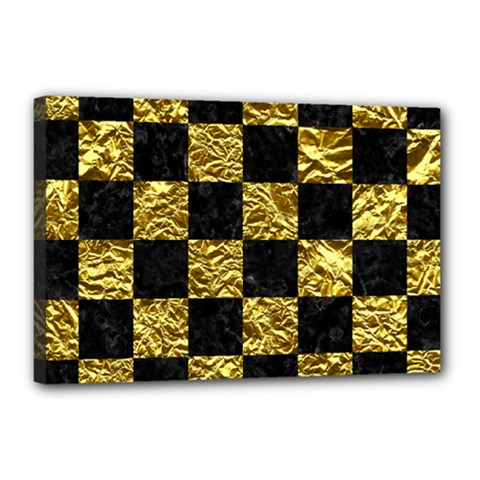 Square1 Black Marble & Gold Foil Canvas 18  X 12  by trendistuff