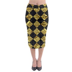 Square2 Black Marble & Gold Foil Midi Pencil Skirt by trendistuff