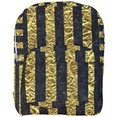 Stripes1 Black Marble & Gold Foil Full Print Backpack by trendistuff