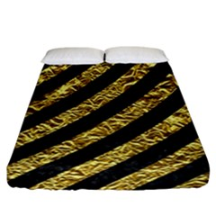 Stripes3 Black Marble & Gold Foil Fitted Sheet (california King Size)