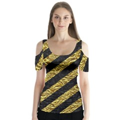 Stripes3 Black Marble & Gold Foil Butterfly Sleeve Cutout Tee