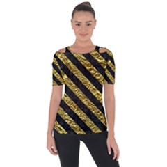 Stripes3 Black Marble & Gold Foil (r) Short Sleeve Top