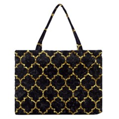 Tile1 Black Marble & Gold Foil Zipper Medium Tote Bag by trendistuff