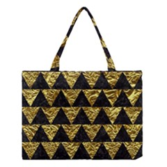 Triangle2 Black Marble & Gold Foil Medium Tote Bag by trendistuff