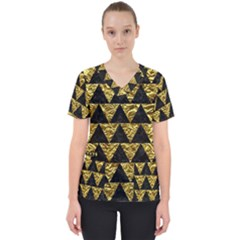 Triangle2 Black Marble & Gold Foil Scrub Top by trendistuff