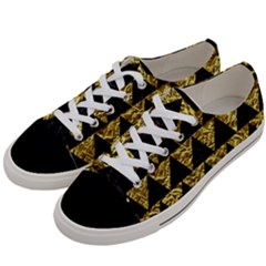 Triangle2 Black Marble & Gold Foil Women s Low Top Canvas Sneakers by trendistuff