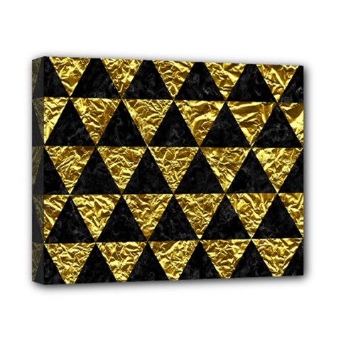 Triangle3 Black Marble & Gold Foil Canvas 10  X 8  by trendistuff
