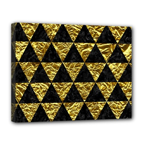 Triangle3 Black Marble & Gold Foil Canvas 14  X 11  by trendistuff