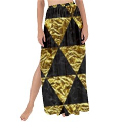 Triangle3 Black Marble & Gold Foil Maxi Chiffon Tie Up Sarong by trendistuff