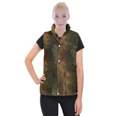 Marbled Structure 4a Women s Button Up Puffer Vest by MoreColorsinLife
