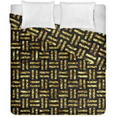 Woven1 Black Marble & Gold Foil Duvet Cover Double Side (california King Size) by trendistuff