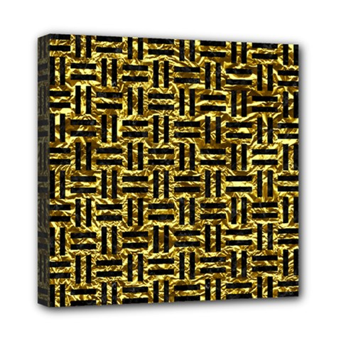 Woven1 Black Marble & Gold Foil (r) Mini Canvas 8  X 8  by trendistuff