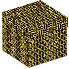 Woven1 Black Marble & Gold Foil (r) Storage Stool 12   by trendistuff