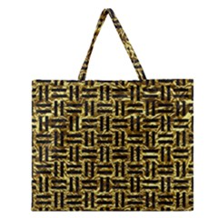 Woven1 Black Marble & Gold Foil (r) Zipper Large Tote Bag by trendistuff