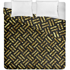 Woven2 Black Marble & Gold Foil Duvet Cover Double Side (king Size) by trendistuff