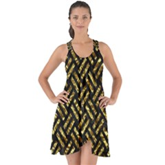 Woven2 Black Marble & Gold Foil Show Some Back Chiffon Dress