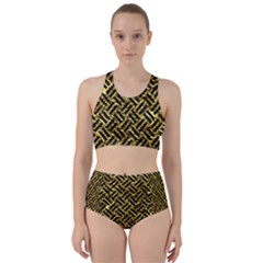 Woven2 Black Marble & Gold Foil (r) Racer Back Bikini Set