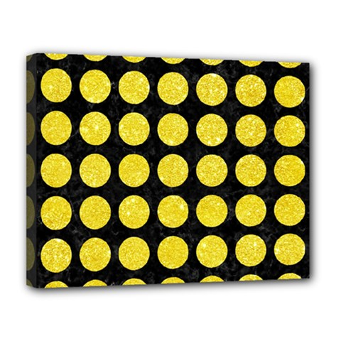 Circles1 Black Marble & Gold Glitter Canvas 14  X 11  by trendistuff
