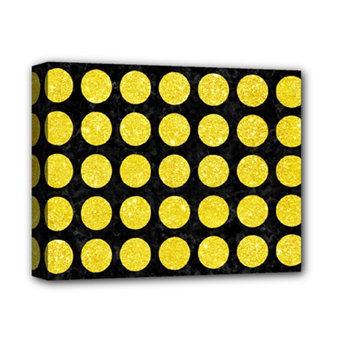 Circles1 Black Marble & Gold Glitter Deluxe Canvas 14  X 11  by trendistuff