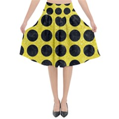 Circles1 Black Marble & Gold Glitter (r) Flared Midi Skirt by trendistuff