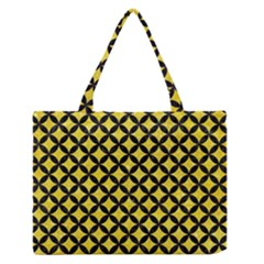 Circles3 Black Marble & Gold Glitter (r) Zipper Medium Tote Bag