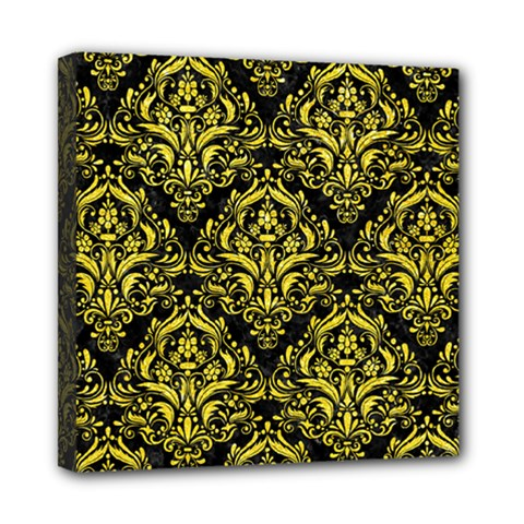 Damask1 Black Marble & Gold Glitter Mini Canvas 8  X 8  by trendistuff
