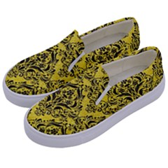 Damask1 Black Marble & Gold Glitter (r) Kids  Canvas Slip Ons by trendistuff