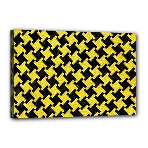 Houndstooth2 Black Marble & Gold Glitter Canvas 18  X 12  by trendistuff