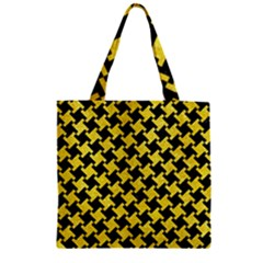 Houndstooth2 Black Marble & Gold Glitter Zipper Grocery Tote Bag by trendistuff