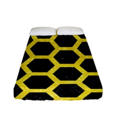 Hexagon2 Black Marble & Gold Glitter Fitted Sheet (full/ Double Size) by trendistuff