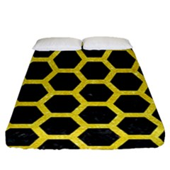 Hexagon2 Black Marble & Gold Glitter Fitted Sheet (queen Size) by trendistuff