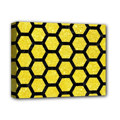 Hexagon2 Black Marble & Gold Glitter (r) Deluxe Canvas 14  X 11  by trendistuff