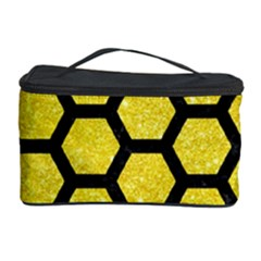 Hexagon2 Black Marble & Gold Glitter (r) Cosmetic Storage Case by trendistuff