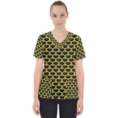 Scales3 Black Marble & Gold Glitter Scrub Top