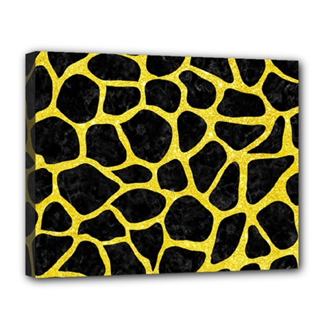 Skin1 Black Marble & Gold Glitter (r) Canvas 14  X 11  by trendistuff