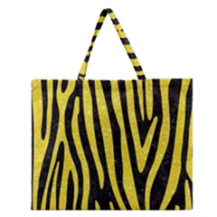 Skin4 Black Marble & Gold Glitter (r) Zipper Large Tote Bag by trendistuff