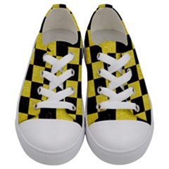 Square1 Black Marble & Gold Glitter Kids  Low Top Canvas Sneakers