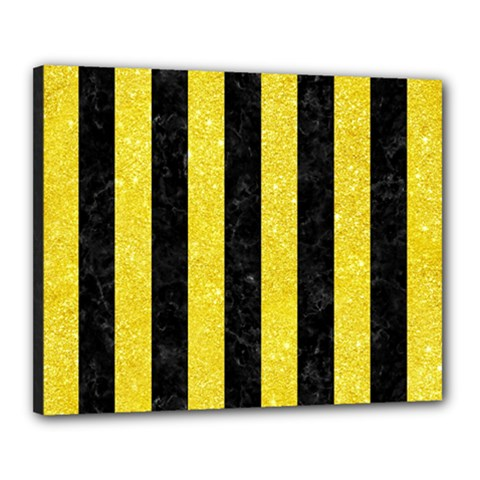 Stripes1 Black Marble & Gold Glitter Canvas 20  X 16  by trendistuff