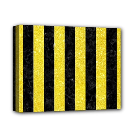 Stripes1 Black Marble & Gold Glitter Deluxe Canvas 14  X 11  by trendistuff