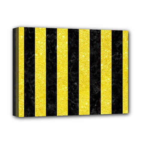 Stripes1 Black Marble & Gold Glitter Deluxe Canvas 16  X 12   by trendistuff