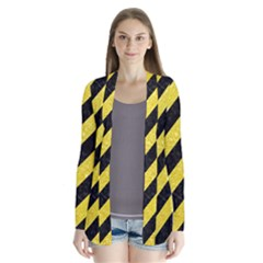 Stripes3 Black Marble & Gold Glitter Drape Collar Cardigan