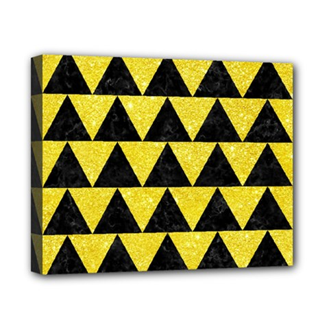Triangle2 Black Marble & Gold Glitter Canvas 10  X 8  by trendistuff