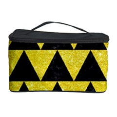 Triangle2 Black Marble & Gold Glitter Cosmetic Storage Case by trendistuff