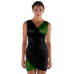 Black Over Green Wrap Front Bodycon Dress by MissUniqueDesignerIs