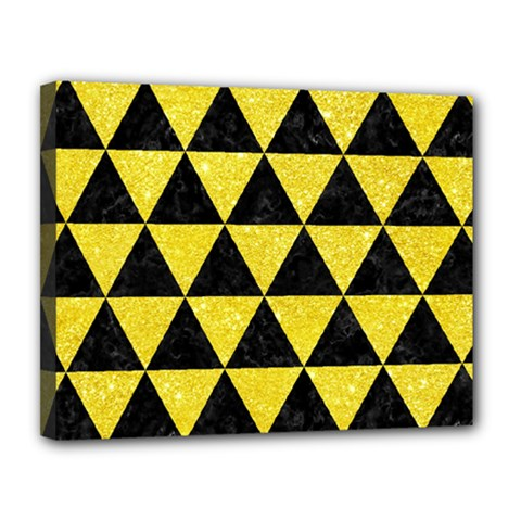 Triangle3 Black Marble & Gold Glitter Canvas 14  X 11  by trendistuff