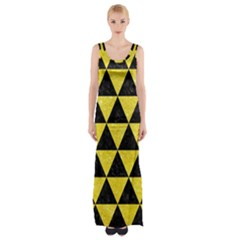 Triangle3 Black Marble & Gold Glitter Maxi Thigh Split Dress by trendistuff