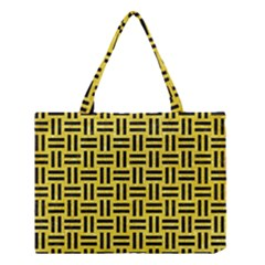 Woven1 Black Marble & Gold Glitter (r) Medium Tote Bag by trendistuff