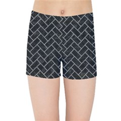 Brick2 Black Marble & Gray Colored Pencilbrick2 Black Marble & Gray Colored Pencil Kids Sports Shorts