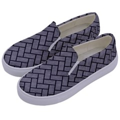 Brick2 Black Marble & Gray Colored Pencil (r) Kids  Canvas Slip Ons by trendistuff